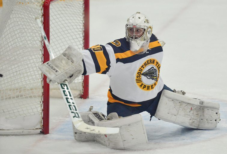 Southern Tier goalie Ryan Pascarella blocks a shot during Saturday's NA3HL season opener at Northwest Arena. P-J photo by Scott Reagle