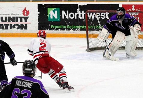 Jamestown Lakers forward Blade Ellis moves in on the Niagara goalie during recent WNYAHL action. Submitted photo