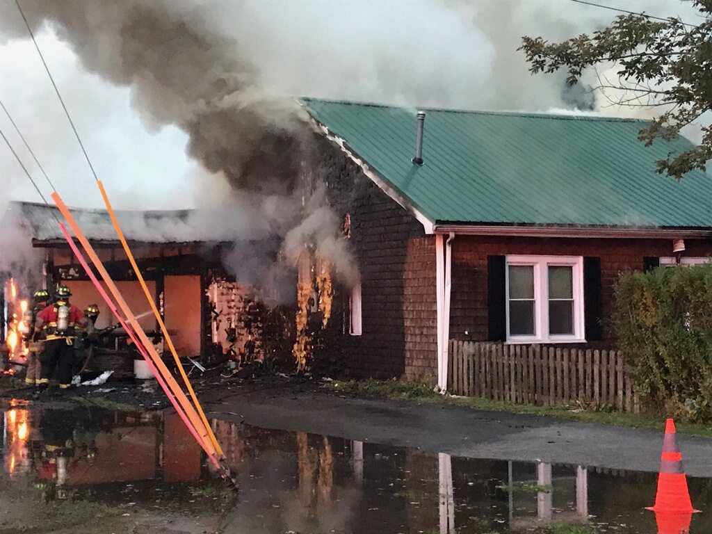 Pictured is the scene of a structure fire at 2398 Lakeside Drive, Ashville.
