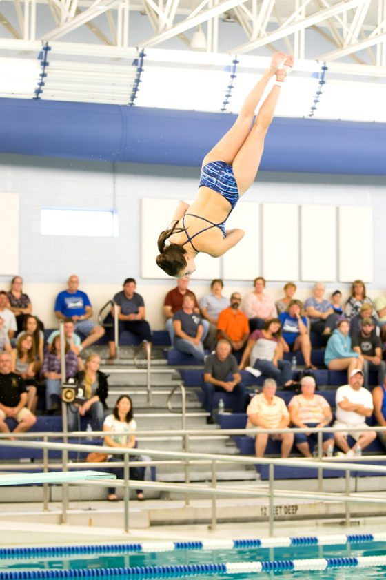 Abi Lisciandro attempts one of her dives en route to winning 1-meter diving. Photo by Debbra Bailey.