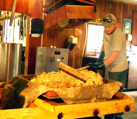 Andy Schultz preps a batch of crushed-up apples for pressing at the Busti Cider Mill.  P-J photo by Katrina Fuller