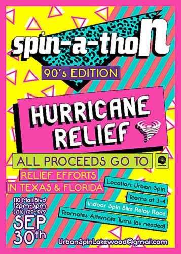 A Spin-A-Thon will be held at Urban Spin, located at 110 Mall Blvd., Lakewood, from 12-3 p.m. Sept. 30. All proceeds from the Spin-A-Thon will go to the United Way to benefit hurricane relief efforts in Texas and Florida. Submitted photo