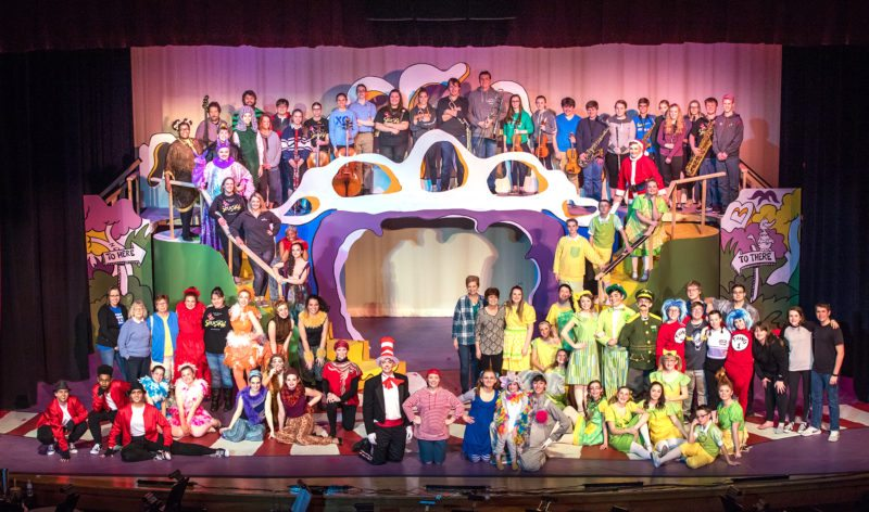 Cast and crew of last year's Jamestown Highs School musical, Seussical. The amazing musical productions require many school and community volunteer. So, if you love the theater and are handy and creative you can donate your time to work on costumes or set design and production.
