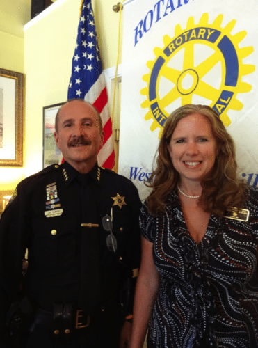 """Chautauqua County Sheriff Joseph Gerace was introduced as the guest presenter by Adele Harrington, Rotary District 7090 Area 16 Assistant Governor, at the Sept. 5 Rotary Club of Westfield-Mayville meeting at The Parkview in Westfield. Sheriff Gerace's informative presentation was titled """"The Opioid Epidemic in Chautauqua County."""""""