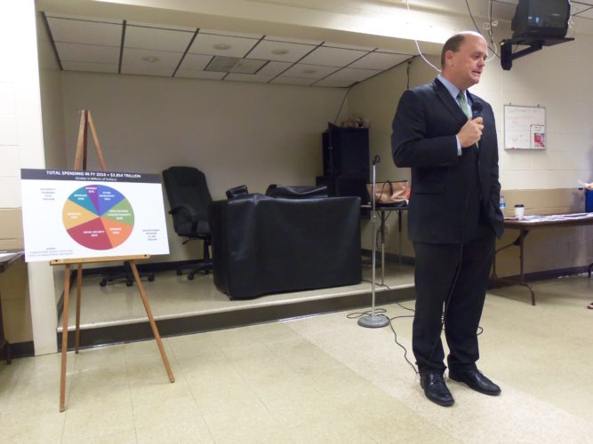 U.S. Rep. Tom Reed, R-Corning, visited the Kiantone Independent Fire Department on Saturday morning to give an update and answer questions from the audience. Reed also visited Fredonia High School and the Ellicott Town Center.  P-J photo by Katrina Fuller