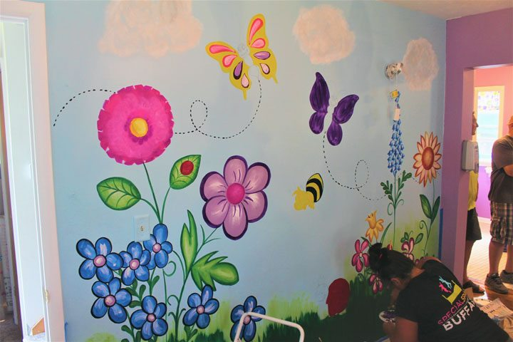 A Butterfly Mural is painted in room of Lakewood resident Suzannah Goins. The room was renovated with the help of  Special Spaces Buffalo and Artone. P-J photo by Jordan W. Patterson