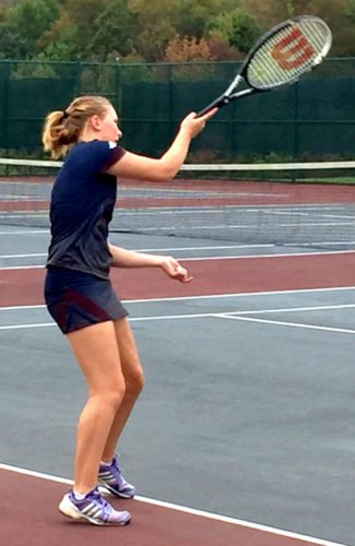 Chautauqua Lake's Autumn Shuskie returns a shot to Southwestern's Mikayla Johnson during CCAA West Division tennis action Monday in Mayville. Submitted photo