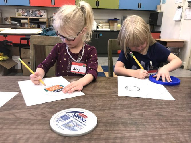 "Fletcher Elementary School kindergartners Ivy Tonon and Melanie Johnson worked on their dot art as part of a larger art and literacy project in Darryl Mallanda's class inspired by International Dot Day and the book, ""The Dot,"" by Peter Reynolds."