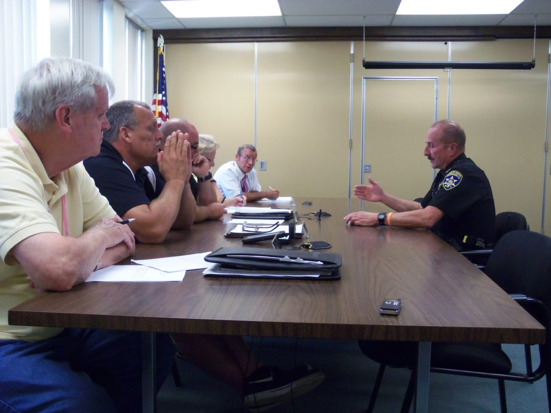 Chautauqua County Sheriff Joseph Gerace speaks with the county public safety committee on Wednesday about a possible Pine Valley Central School District fuel agreement.  P-J photo by Katrina Fuller