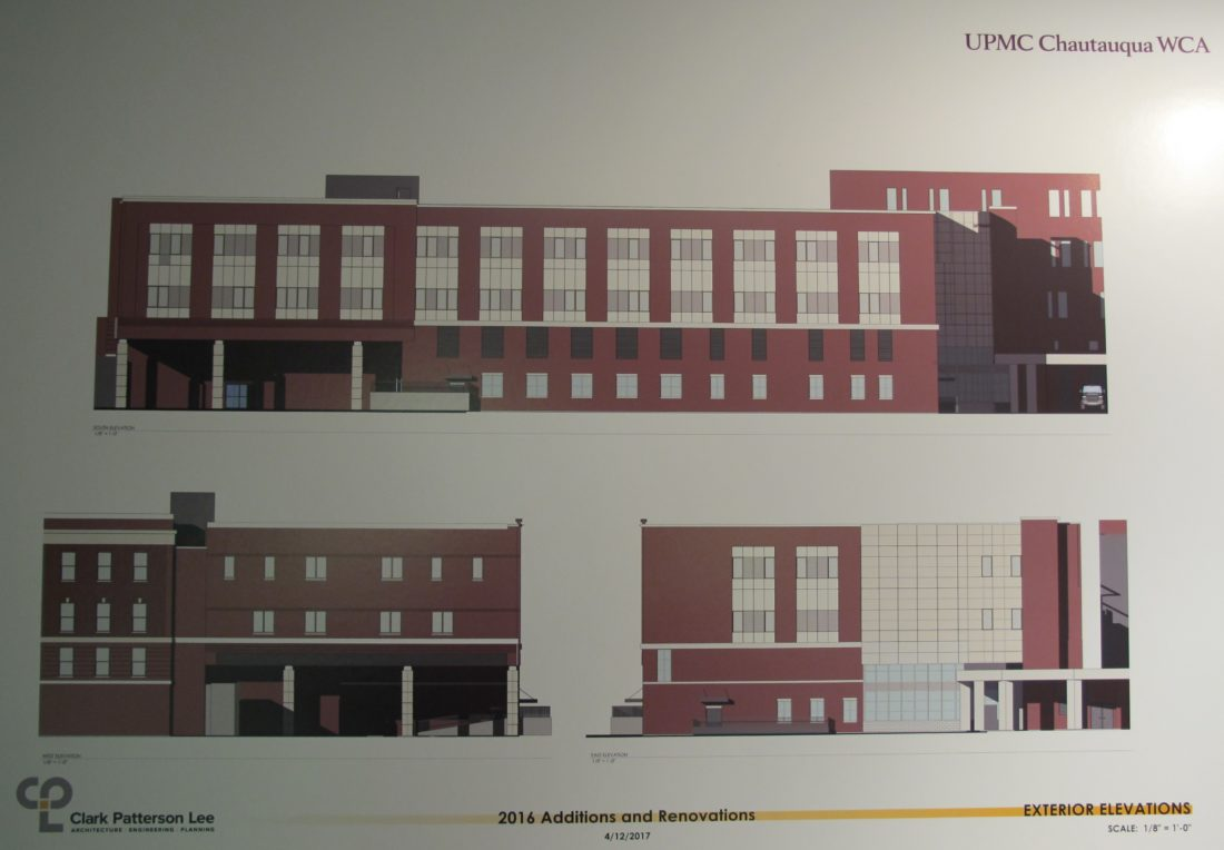 A schematic drawing done by Clark Patterson Lee of the new state-of-the-art maternity care unit and psychiatric care for children and adults addition being built above the emergency department at UPMC Chautauqua WCA's Foote Avenue facility. P-J photo by Dennis Phillips