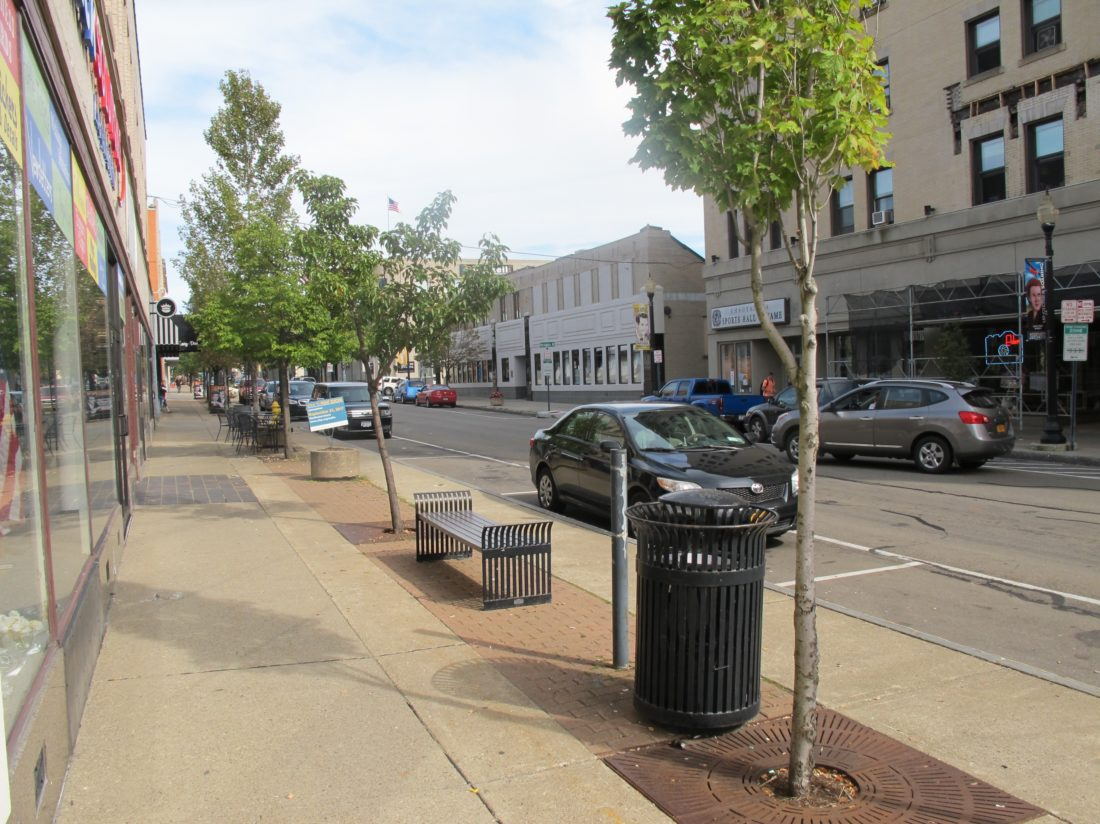 The Strategic Planning and Partnerships Commission is working on downtown aesthetics by coordinating the look of benches, garbage cans, bike racks, trees and other items to have a visually pleasing streetscape design. P-J photo by Dennis Phillips