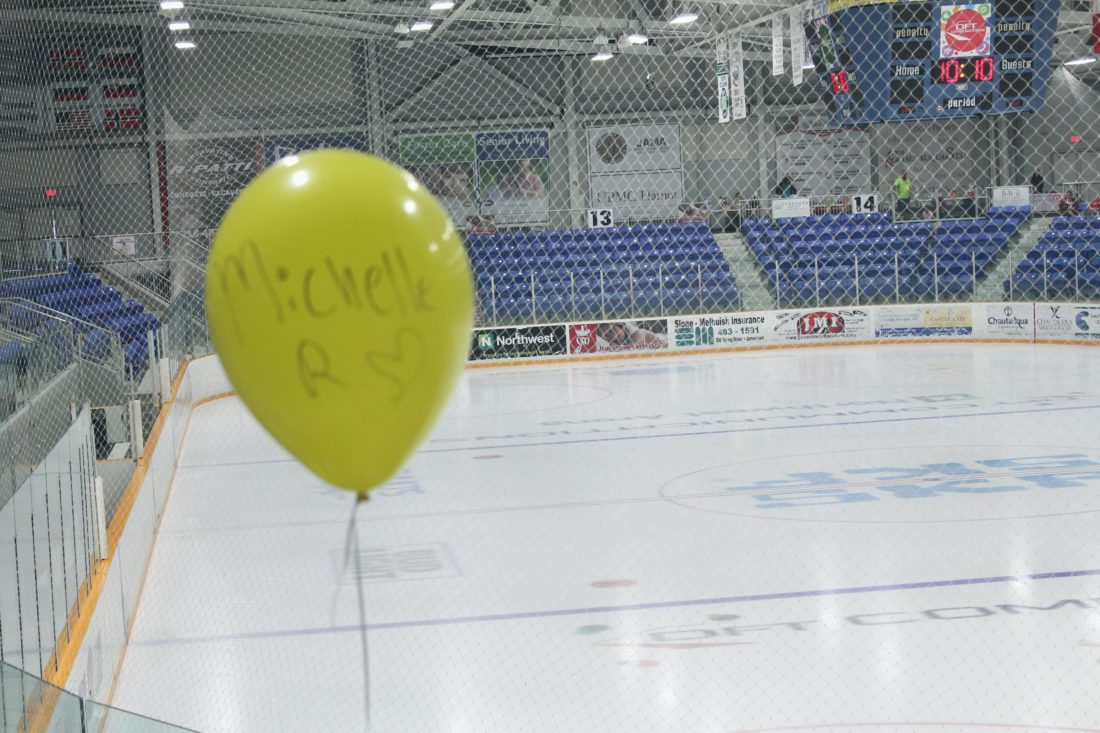 A balloon inside Northwest Arena on Saturday as part of the annual Out of the Darkness suicide prevention week that took place locally. Hundreds of similar events took place across the country.  P-J photo by Jordan W. Patterson