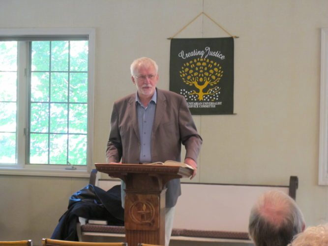 Greg Rabb discusses the role of religion in politics, as originally conceived by the drafters and signers of the U.S. Constitution, during Sunday's meeting of the Unitarian Universalist Congregation of Jamestown. P-J photo by Gavin Paterniti