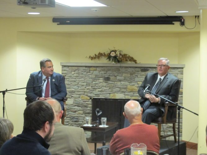 George Borrello and Michael Ferguson, the respective Republican and Democratic county executive candidates, debated the top issues facing Chautauqua County at a meeting of the Rotary Club of Jamestown at the Robert H. Jackson Center on Monday. P-J photo by Gavin Paterniti