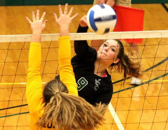 Jamestown Community College's SallyAnne Rudny puts down a spike during the Jayhawks NJCAA Region 3 Division III match against Monroe CC on Tuesday at the Physical Education Complex. P-J photo by Lisa Monacelli