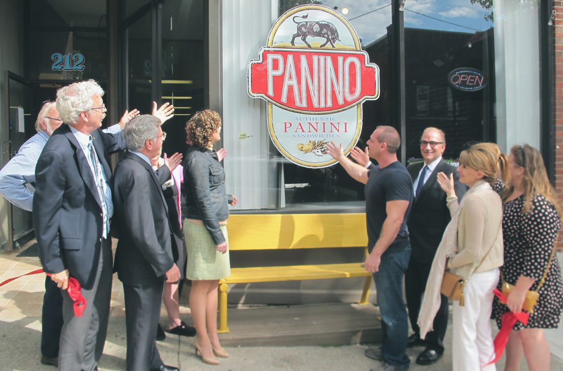 Panino owner Jim Weaver hosted a grand opening ceremony culminating in a ribbon cutting Wednesday at 212 Pine St. in Jamestown. The new soup and sandwich shop specializes in authentic, Italian-style pressed sandwiches, as well as soup du jour, and is open Monday through Friday from 11 a.m. to 2 p.m. P-J photo by Gavin Paterniti