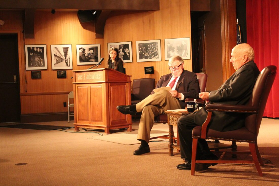 Samantha Barbas, law professor at the University of Buffalo, introduces famed attorney Floyd Abrams, right. Local lawyer Greg Peterson, center, interviewed Abrams as part of the Joseph Gerace Lecture series at the Robert H. Jackson Center. Abrams is famous for his work on freedom of speech, specifically with the Pentagon Papers.  P-J photo by Jordan W. Patterson