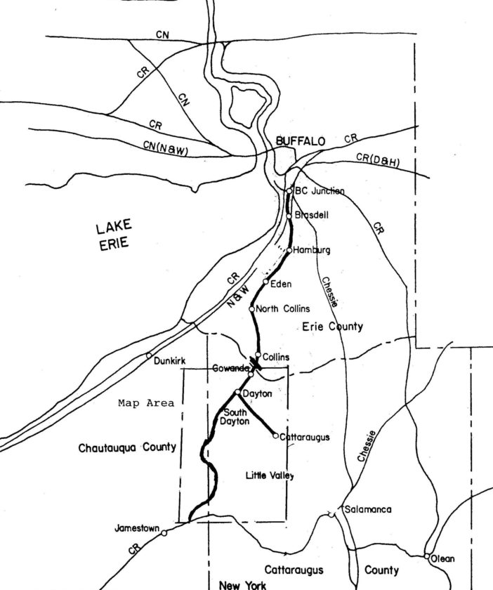 An excursion train map between Buffalo and Jamestown that shows other municipalities that might be included as stops for excursion train travel between the two cities.