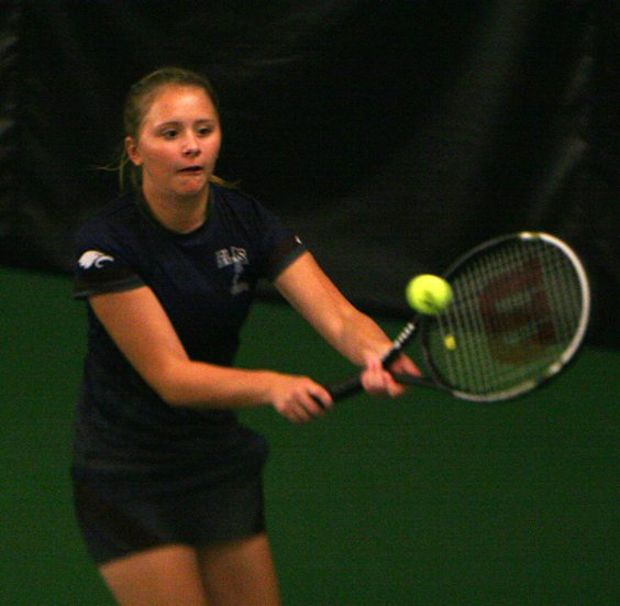 Chautauqua Lake's Autumn Shuskie returns a volley during the Chautauqua-Cattaraugus Athletic Association Tennis Singles Championships on Wednesday. P-J photo by Scott Kindberg