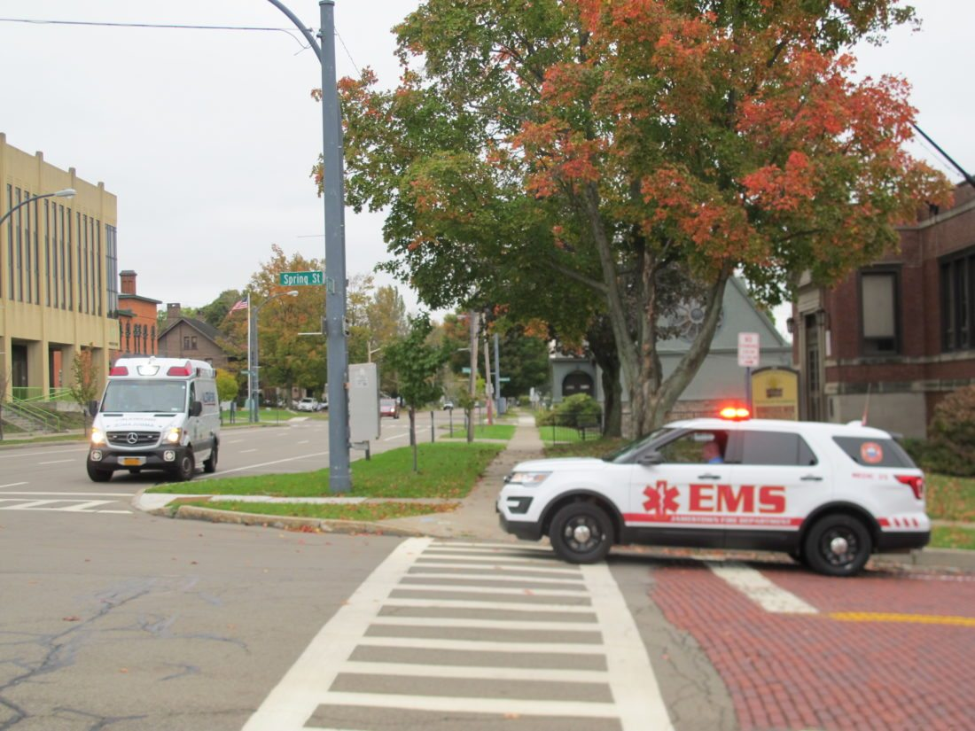 Fire and EMS crews at the intersection of Spring and Fourth streets in Jamestown on Thursday. P-J photo by Gavin Paterniti
