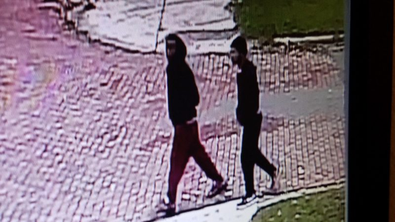 A photo of two men believed to be connected to a shooting on Liberty Street on Thursday in Jamestown. A man was taken to the hospital with a non-life-threatening injury.  Photo by the Jamestown Police Department