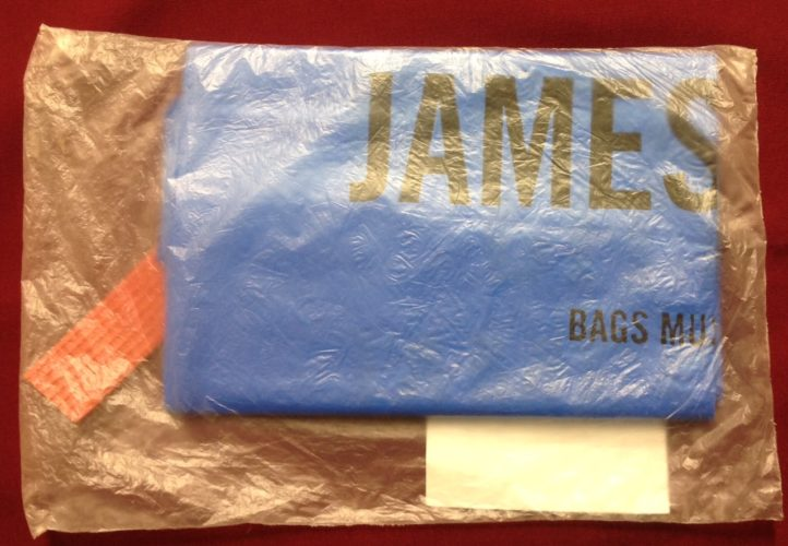 A packet of garbage bags that at one time was sold by the city of Jamestown.