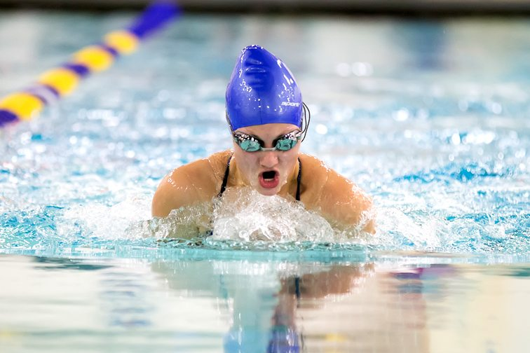 The Lady Panthers' Abi Lisciandro competes in the 100 breaststroke.  Photo Deb Bailey