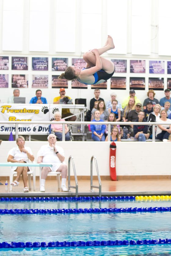 The Bears' Rachel Carr competes in diving. Photo by Deb Bailey