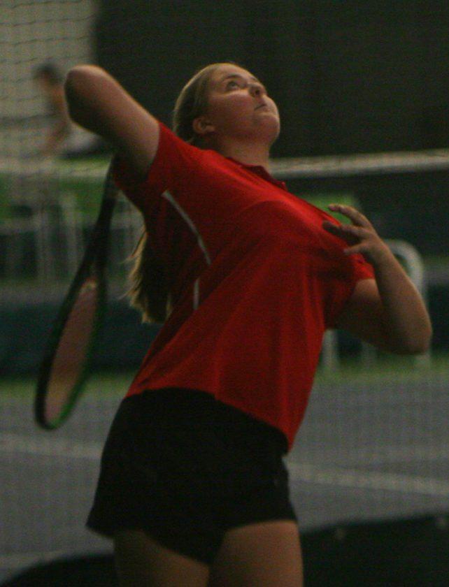 Maple Grove's Elise Swanson serves during a Chautauqua-Cattaraugus Athletic Association Tennis Doubles Tournament at the Lakewood YMCAon Thursday. P-J photo by Scott Kindberg