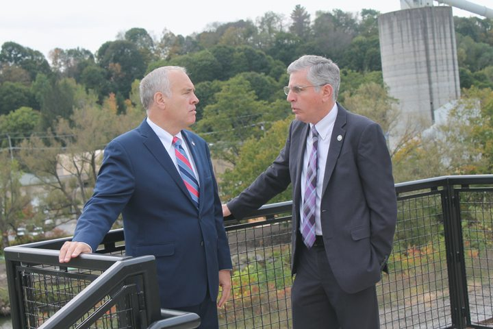 New York State Comptroller Thomas DiNapoli and Mayor Sam Teresi tour downtown Jamestown on Friday. DiNapoli was updated on several city projects. P-J photo by Jordan W. Patterson