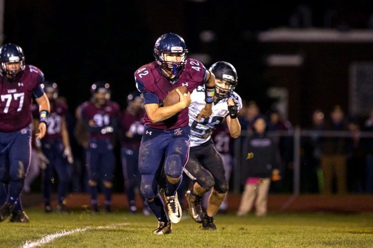 Franklinville/Ellicottville's Brock Blecha runs for yardage during Friday's Class D game against Clymer/Sherman/Panama in Franklinville. P-J photo by Tim Frank