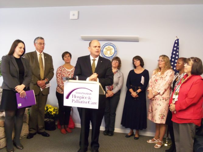 U.S. Rep. Tom Reed, R-Corning, visited Chautauqua Hospice and Palliative Care on Monday morning to discuss the Palliative Care and Hospice Education and Training Act.  P-J photo by Katrina Fuller