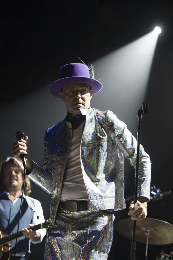 FILE - In this Aug. 10, 2016 file photo, Gord Downie, singer and songwriter of Canadian rock band The Tragically Hip, performs in Toronto, Canada. The widely revered lead singer died Tuesday night, Oct. 17, 2017. He was 53. (Photo by Arthur Mola/Invision/AP File)