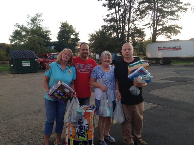 Board members of the Lakewood American Legion Post 1286 recently donated cleaning supplies to UCAN men's homeless shelter in Jamestown. The shelter is located on First Street in the city.
