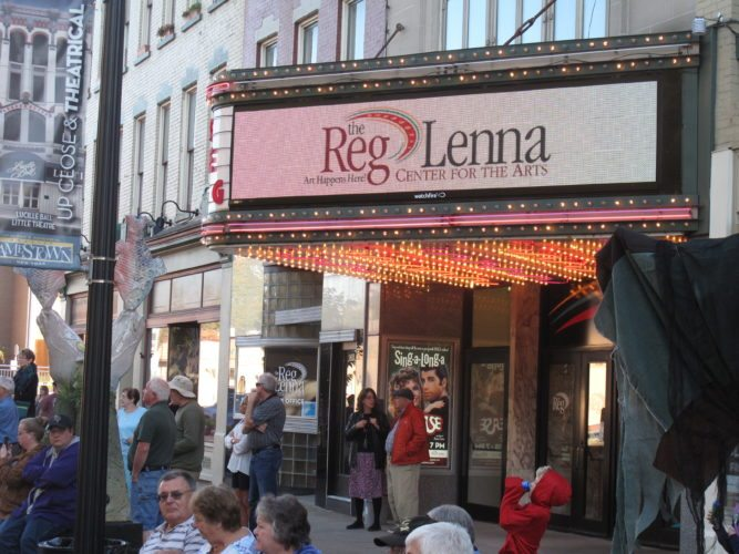 The new marquee at the Reg Lenna Center for the Arts made its debut Friday in Jamestown. A block party was held as the new centerpiece was shown off.  P-J photo by Noah Rankin