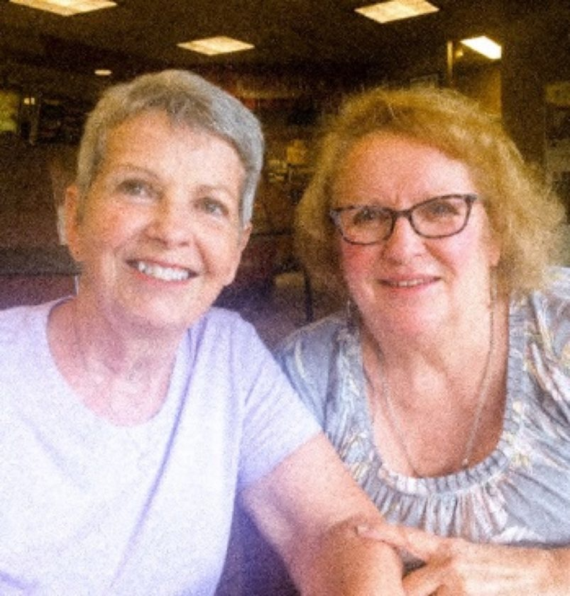 Cousins Kay Williamson Dracup and Lynne Williamson Anderson.