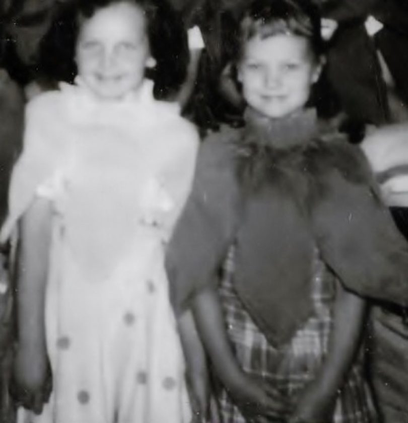 Barb Rissel Stewart and me in Mrs. Alden's first-grade class. Photo from Rissel archives