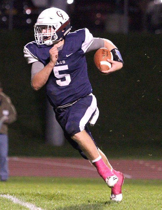 Chautauqua Lake's Devin Pope runs for a touchdown during the first quarter of Friday's Section VI Class D quarterfinal against Salamanca in Mayville. P-J photo by Lisa Monacelli