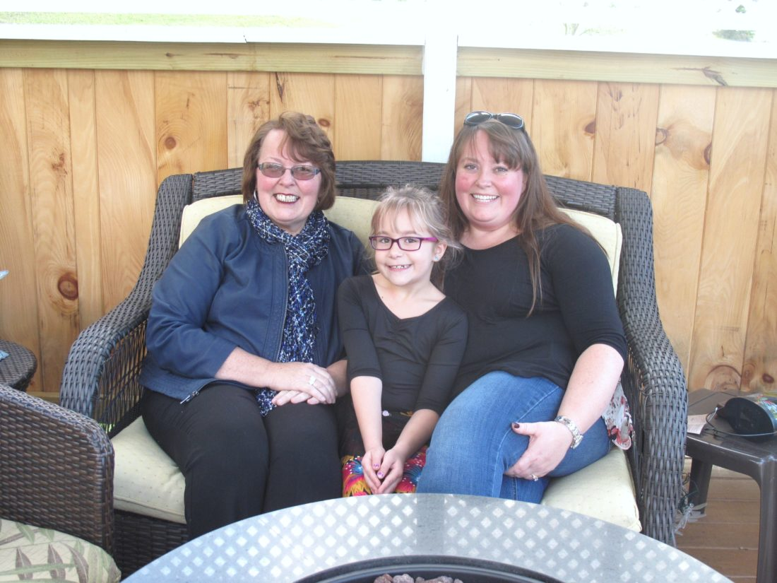 Jamie Richir, a Chautauqua County native, shared her story of breast cancer survival in recognition of Breast Cancer Awareness Month. Pictured from left are Richir; her grandaughter, Zoie Centi; and her daughter, Marcella Centi. P-J photo by Katrina Fuller