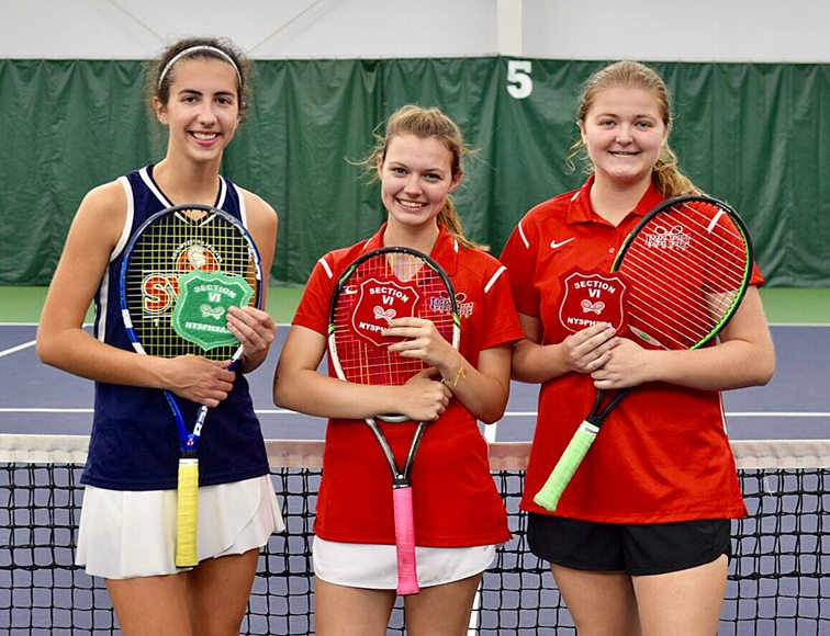 From the left, Southwestern singles player Mikayla Johnson, and Maple Grove's doubles team of Maddie Collins and Elise Swanson are all smiles after completion of the Section VI Tournament on Saturday. Johnson placed fourth, while Collins and Swanson finished second to earn a trip to states. Submitted photo