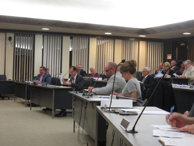 Chautauqua County legislators unanimously approved the 2018 budget on Wednesday night, which included a 4 cent tax decrease.  P-J photo by Katrina Fuller