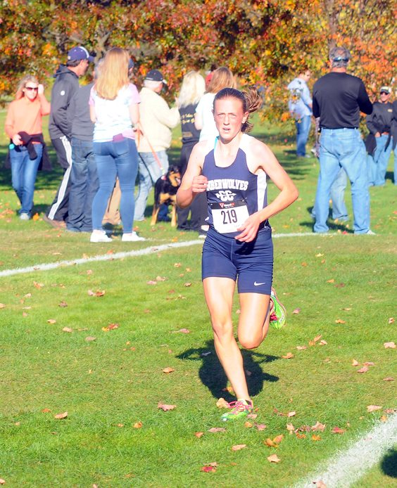 Cattaraugus-Little Valley's Abby Gostomski runs the girls race. P-J Photo by Jay Young