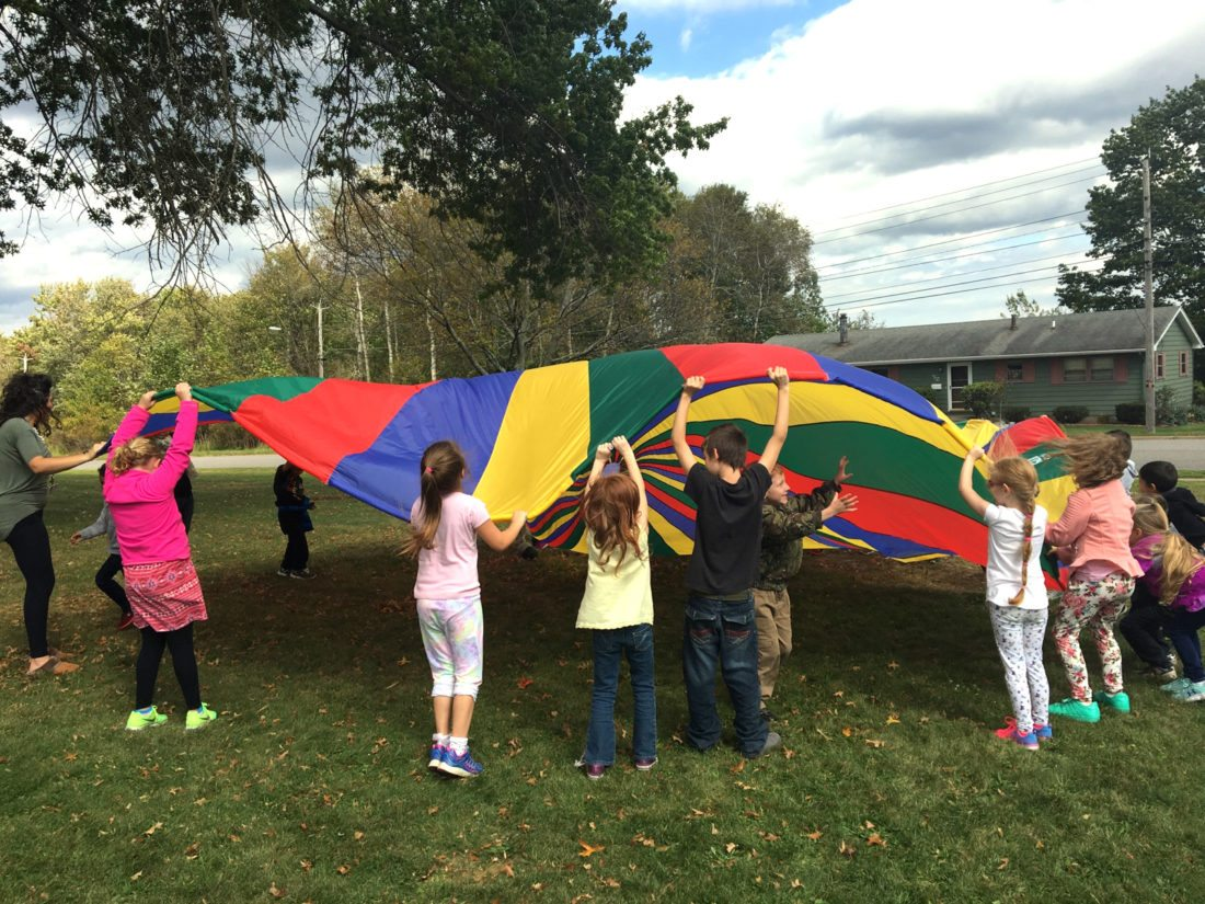 Bush Elementary School students participate in an outdoor game during a Bush Bonanza Day where students are rewarded for good behavior.