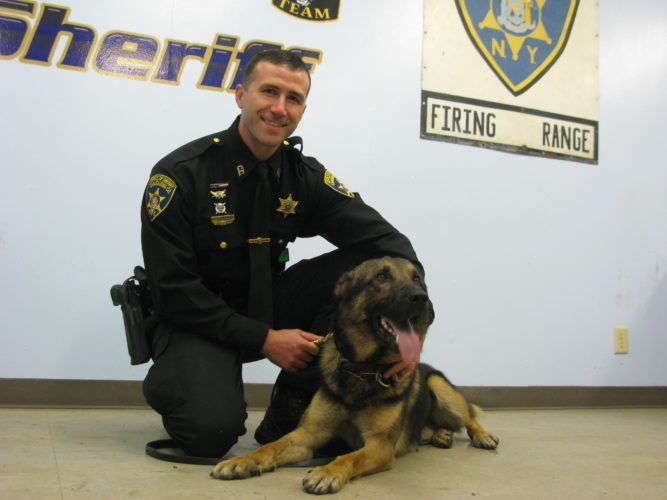 Deputy Chad Wright and K-9 Link pose for a photo Wednesday at the Sheriff's Office's training grounds in Dewittville. K-9 Link reportedly helped track down a man Thursday in Stockton.  P-J photo by Eric Tichy