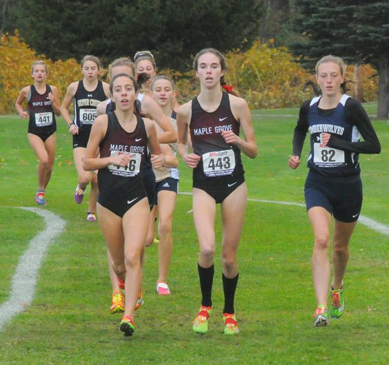 Most of the Maple Grove girls team runs together at the beginning of the Class D race. P-J photo by Scott Kindberg