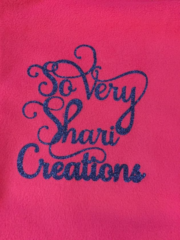 The sparkling letters in this heat transfer design are one of the many options available at So Very Shari Creations.
