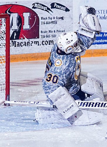 Southern Tier goalie Ryan Pascarella makes a save during Friday's NA3HLgame against Pittsburgh. P-J photo by Chad Ecklof