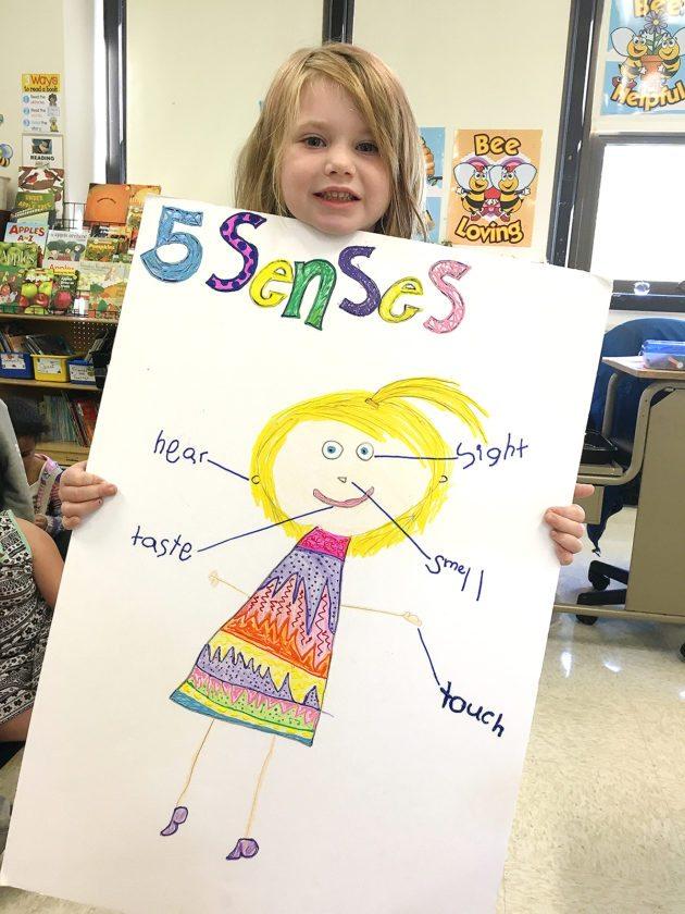 "Lincoln kindergarten 5 senses: Lincoln Elementary School kindergartner, Riley Godwin, shows off her family ""homework"" project."