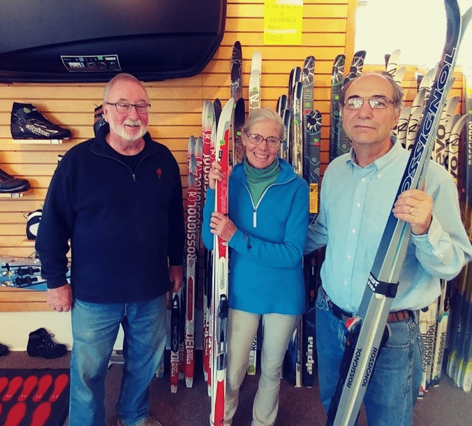 From left are Les Johnson, Hollyloft owner, and Tina Nelson and Bill Scherman of the Boutwell Hill Ski Club.