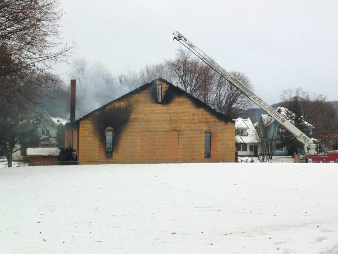 The remnants of the First Church of God on Dec. 26, 2016, following a devastating fire. A new church is being built in its place.  P-J file photo